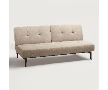 World Market Brock Woven Taupe Convertible Sofa