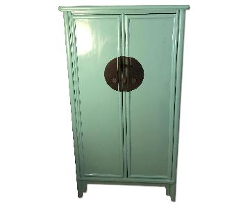 Teal Chinese Lacquered A-Frame Armoire