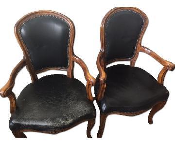 Altman and Co. Vintage Italian Leather Black Nail Head Dinin