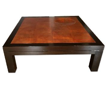 Parchment Leather & Lacquered Oak Coffee Table
