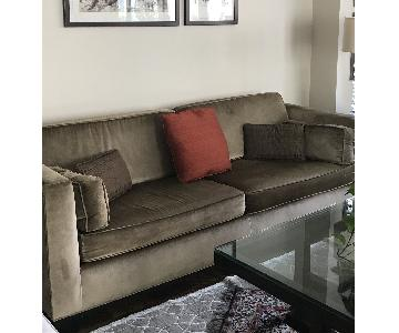 Crate & Barrel 2 Seat Sofa w/ Bench Made Frame + Side Pillow