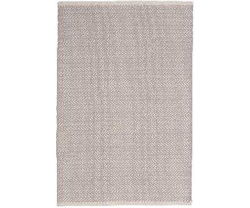 Dash & Albert Herringbone Dove Grey Woven Cotton Rug & Pad