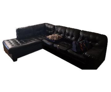 Jennifer Convertibles Black 2 Piece Sectional Sofa