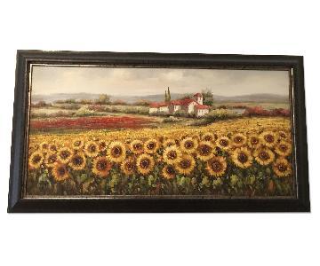 Framed Sunflowers Painting
