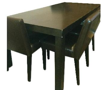 Dark Wood Dining Table w/ 3 Chairs