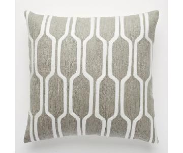 West Elm Chevron & Honeycomb Crewel Pillows in Platinum
