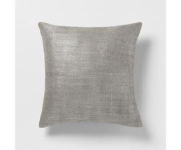 West Elm Metallic Brush & Frosted Diamond Pillows in Platinu