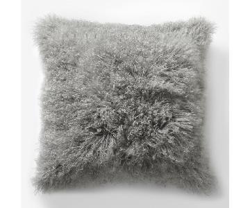 West Elm Mongolian Lamb Square Pillows in Platinum