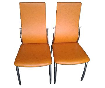 Dining Chair w/ Metal Frame & Orange Leatherette Cushions
