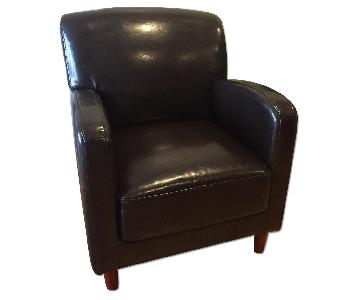 Crate & Barrel Brown Leather Chair