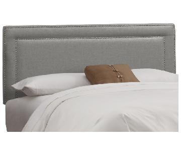 Skyline Furniture Nail Button Border Linen Queen Size Headbo