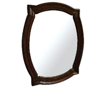 Cherry Wood Oval-Square Beveled Mirror