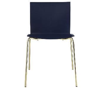 CB2 Slim Navy & Gold Legged Chair