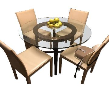 Crate & Barrel Dinig Table w/ 4 Leather Chairs