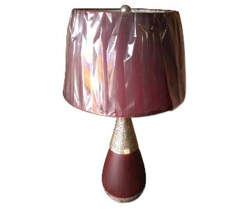 Red & Gold Color Base Table Lamp w/ Red Shade