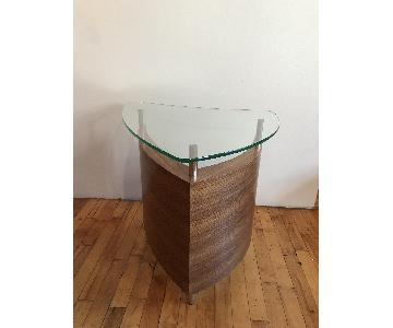 Glass & Wood Side Table