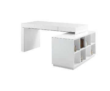 J&M Furniture Waterman L-Shape Computer Desk w/ Hutch
