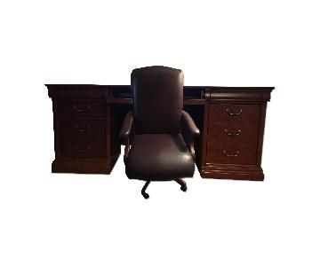 Havertys Office Desk & Leather Chair