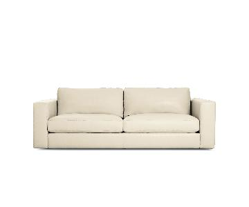 Design Within Reach White Leather Sofa