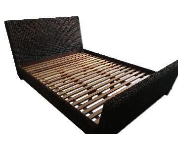 Crate & Barrel Dark Brown Wicker Bed Frame