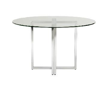 CB2 Silverado Chrome Glass Round Dining Table