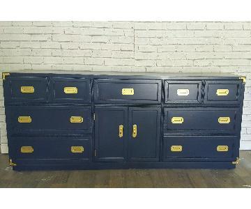 Vintage Mid Century Modern Navy Blue Campaign Dresser