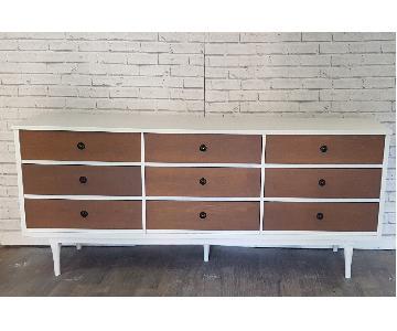 Mid Century Modern White & Walnut Dresser