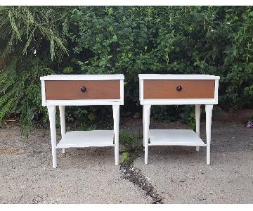 Mid Century Modern White & Walnut Nightstands