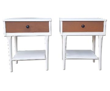 Mid Century Modern White & Walnut Nightstands