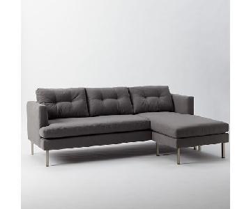 West Elm Grey Fabric Sectional Sofa