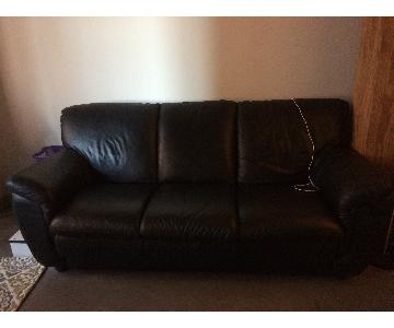 Black Leather 3 Seater Couch