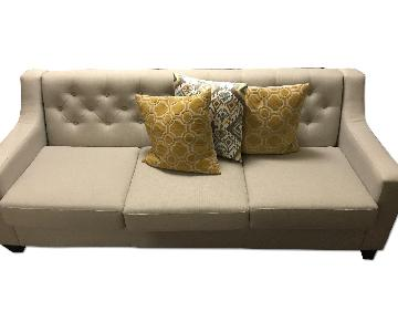 Upholstered Button-Tufted Sofa