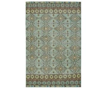 Kaleen Relic Collection Turquoise Hand-Knotted Rug