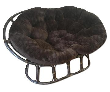 Pier One Papasan Double Taupe Chair Frame & Cushion