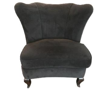 Crate & Barrel Black Suede Wing Chairs