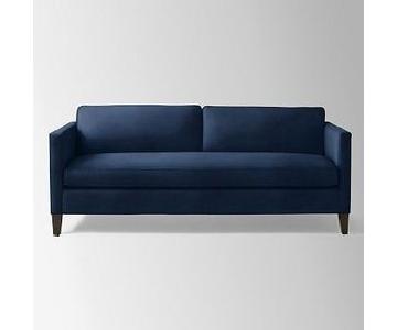 """West Elm Dunham 84"""" Sofa in Performance Velvet Ink Blue"""