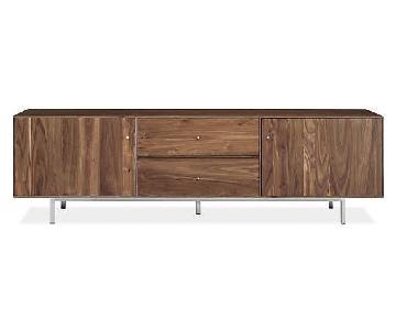 Room & Board Hudson Walnut Media Cabinet w/ Stainless Steel