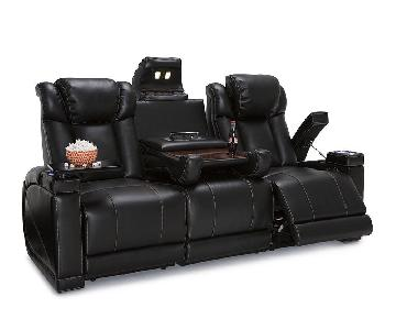 Lane Sigma Black Leather Gel Home Theater Seats