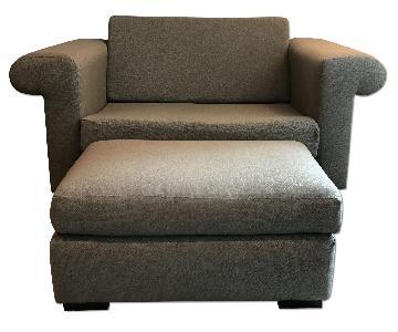 Gray Chair and a Half & Ottoman
