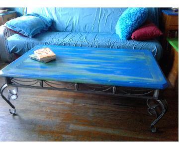 Farmhouse Furniture Sea Blue Green Coffee Table
