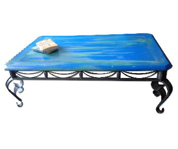 Farmhouse Furniture Sea Blue Green Coffee Table