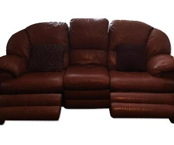 Raymour & Flanigan Leather Recliner Sofa + Loveseat