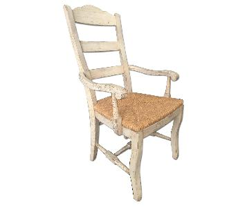 Drexel Heritage Distressed White Pine Wicker Chair