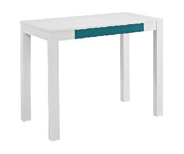 Target Ameriwood White Desk w/ Blue Drawer