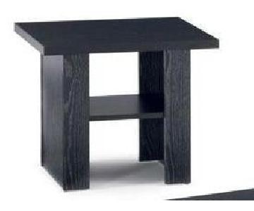 Black Side Table w/ Square Top & Storage Shelf