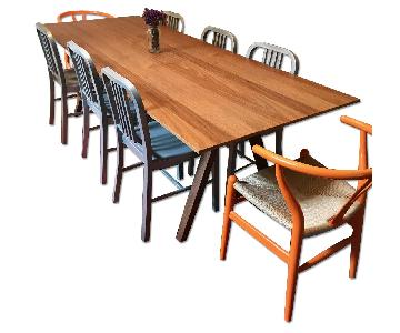 Wood Dining Table w/ 4 Aluminum Chairs