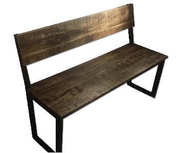 Rustic Wood Bench w/ Backrest