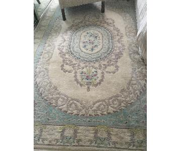 Vintage Cream & Blue Carved Floral Chinese/Indian Rug