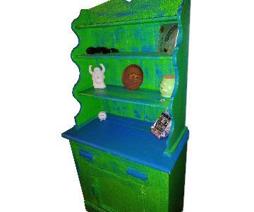 Vintage Farmhouse Sea Foam Green Farm Cabinet