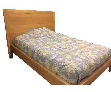 The Door Store Natural Wood Platform Bed Frame w/ Headboard